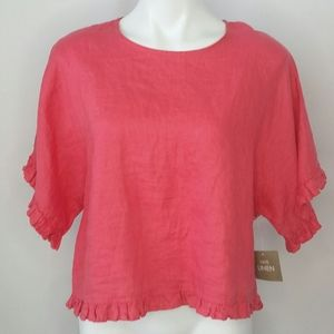 Cynthia Rowley linen ruffle top size Medium NWOT
